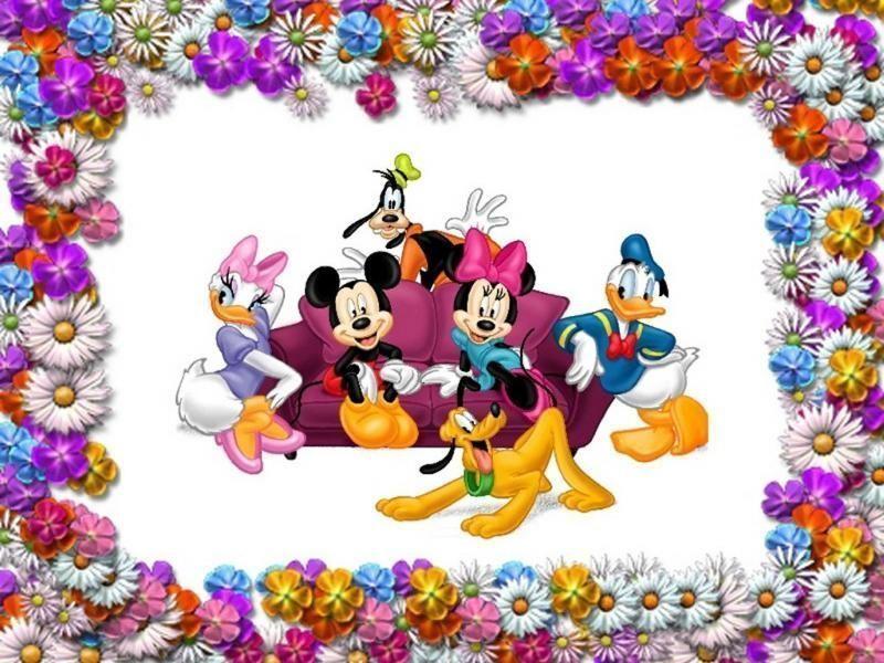 fond d'écran mickey, minnie et leurs amis avec un joli cadre fleuri